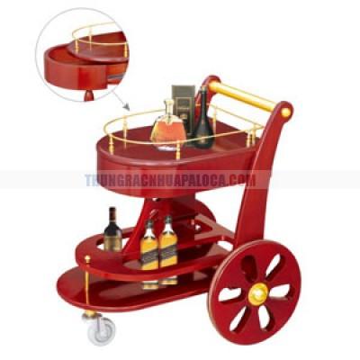 Xe đẩy rượu cao cấp bằng gỗ 2 tầng TLJWY111